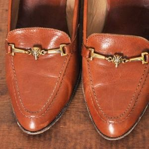 Vintage 1970's Fox Head Caramel Leather Pumps, 9